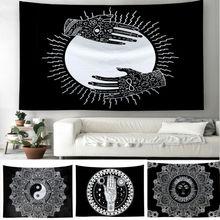 Tapisserie murale de Tarot de lune du soleil   Tapisserie murale de Tarot, tapis psychédelique Tapiz Witchcraft, tapisserie murale de Mandala de linde