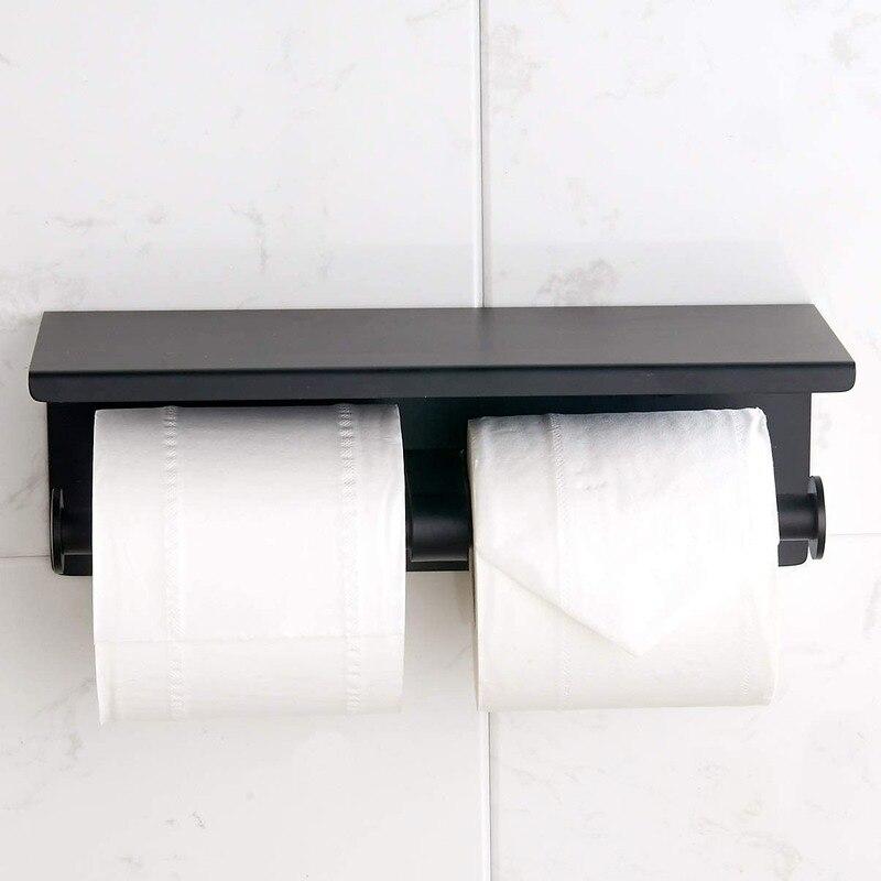 حامل ورق المرحاض المزدوج الرأس-حامل لفائف الورق الفولاذ المقاوم للصدأ مع رف الحائط للحمام