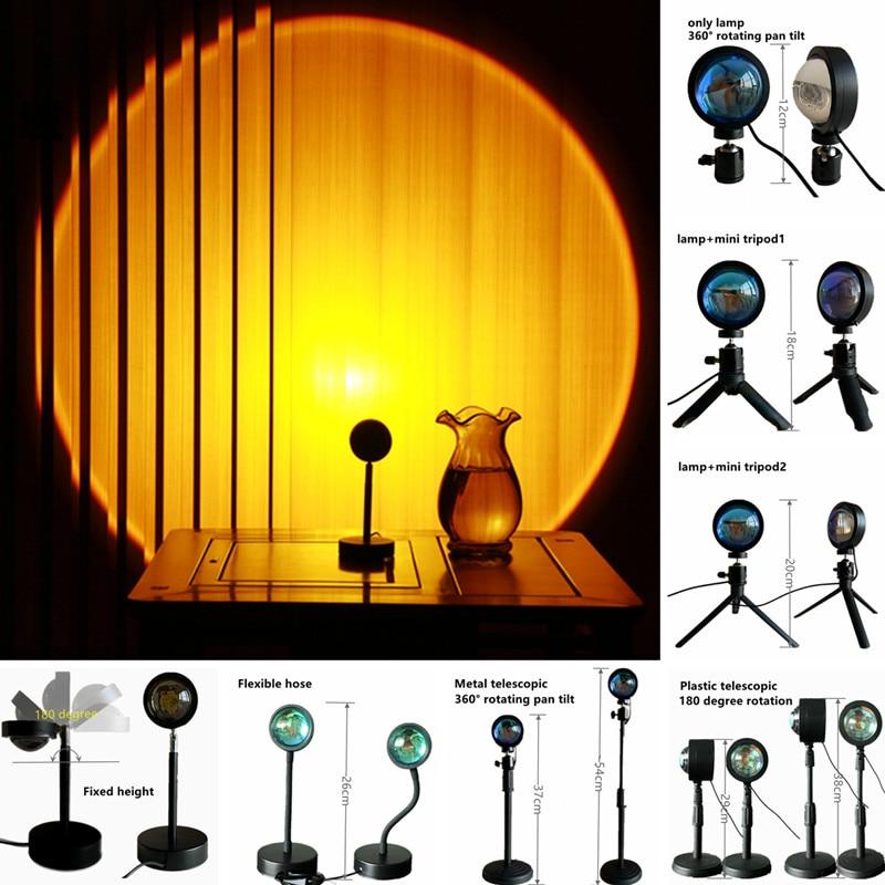 Проекционный светильник с закатом, проектор с радужным красным светом, светодиодный ночсветильник с USB, для фотосъемки, для спальни, бара, ка...
