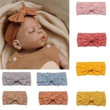 Diadema de algodón con lazo para bebé y niña, bandana lisa con nudo giratorio, accesorios para el cabello, regalos del día de Navidad