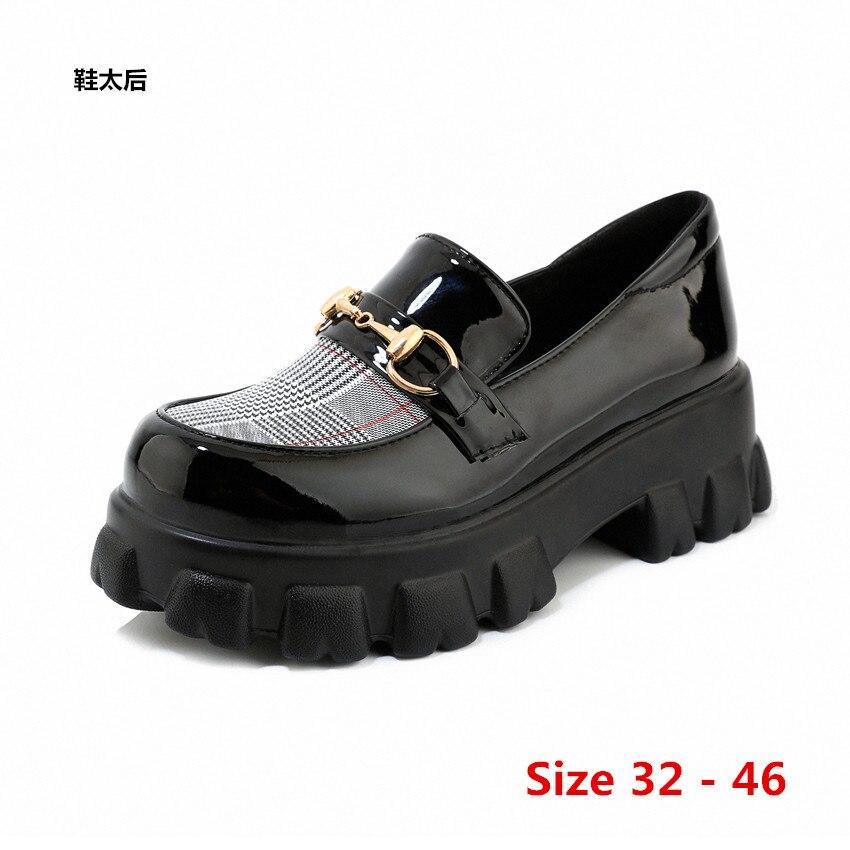 أسافين النساء شقة منصة حذاء بكعب ويدج امرأة الجلود الانزلاق على الأحذية الإناث شقة أكسفورد أحذية للنساء صغيرة كبيرة الحجم 32 - 46