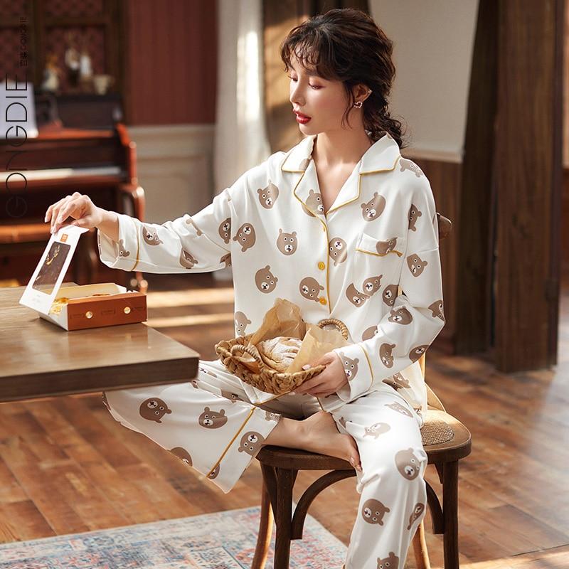 conjunto-de-pijama-de-manga-larga-para-hombre-y-mujer-traje-de-dos-piezas-fino-de-dibujos-animados-cardigan-ropa-de-casa-informal-para-primavera-y-otono