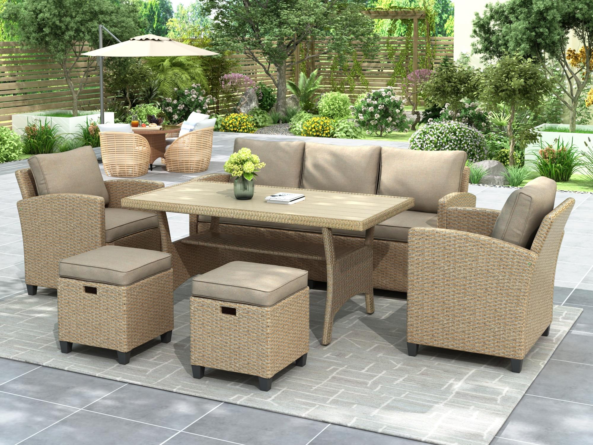 Набор современных секционных диванов из ротанга, садовая мебель, уличные диваны на заднем дворе, стулья и наборы столов у бассейна