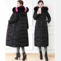 fashion parkas women winter coats detachable fox fur hooded jacket thicken warm overcoat plus size female x long down jackets