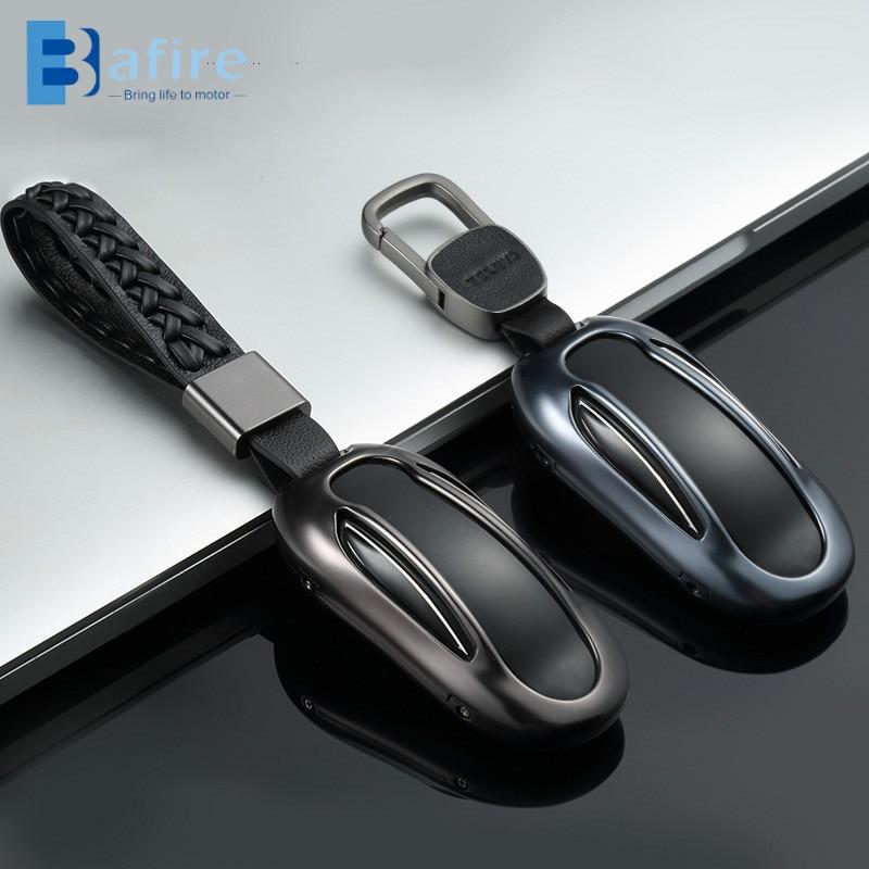 BAFIRE سيارة مفتاح غطاء جلد ل تسلا نموذج S نموذج X مع حزام سبائك الألومنيوم مفتاح قذيفة حقيبة التخزين حامي التصميم