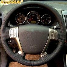 Sztuczna skóra osłona na kierownicę do samochodu DIY dla Hyundai IX55 Veracruz 2007 2008 2009 2010 2011 2012