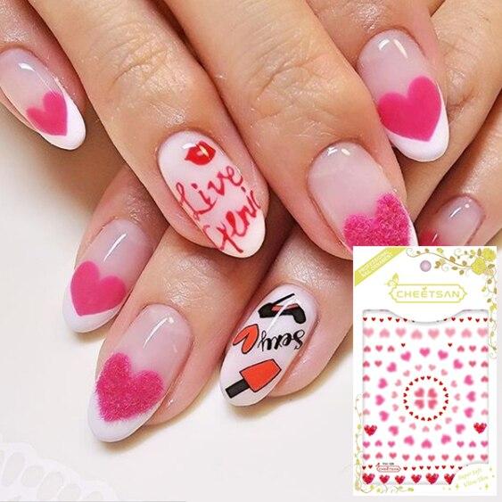 TSC serie Tsc-129 dream corazón Rosa calcomanía de pegatinas 3d para decoración de uñas marca cheetsan herramienta para uñas diy decoraciones