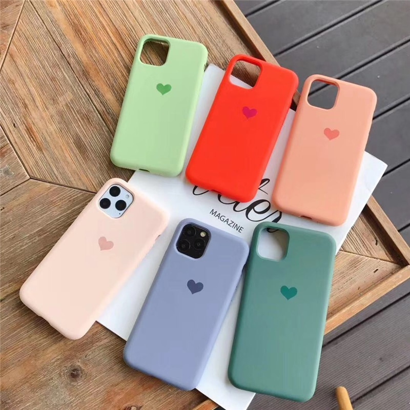 Corazón amor simple funda de silicona para iphone 11 11Pro Max XS Max XR XS para iphone 6 6s 7 8 Plus mate suave carcasa de silicona TPU cubierta
