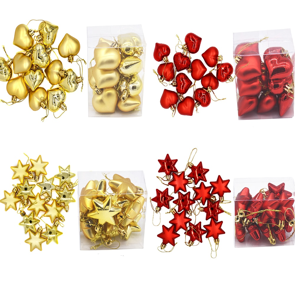 12PCS/lot Red Gold Christmas Star Heart Tree Ornaments for 2021 Noel Decorations Xmas Kids Crafts Home Party Pendants
