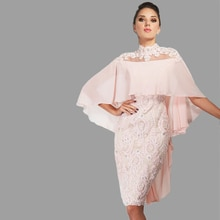 Pink Mother Of The Bride Dresses Sheath Knee Length Chiffon Appliques Beaded Plus Size Short Groom M