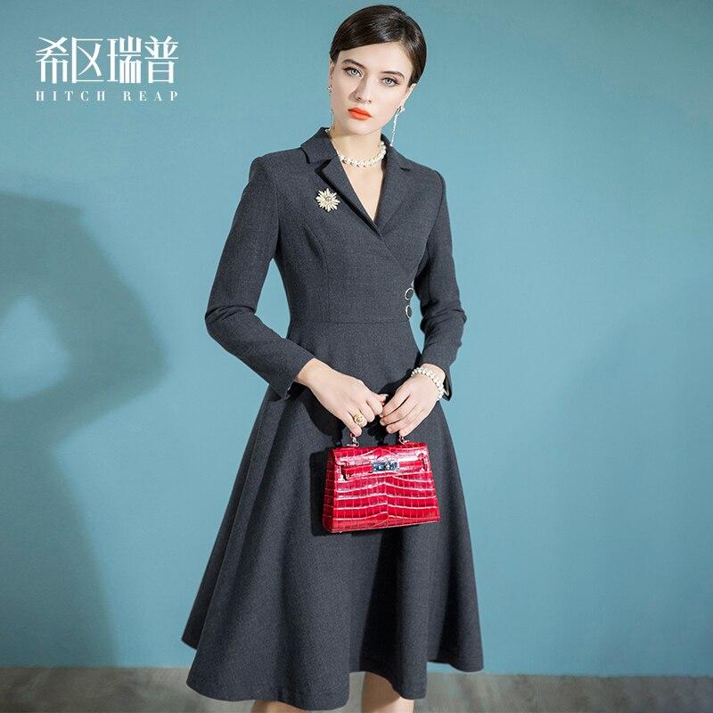 الراقية فستان بتصميم بدلة المرأة نمط الرجعية الجديدة في الخريف والشتاء