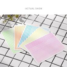 Fluorescent Stripes 3D Nail Art Sticker Rainbow Neon Adhesive Sticker Flexible Line Decals for Nail Art Decoration