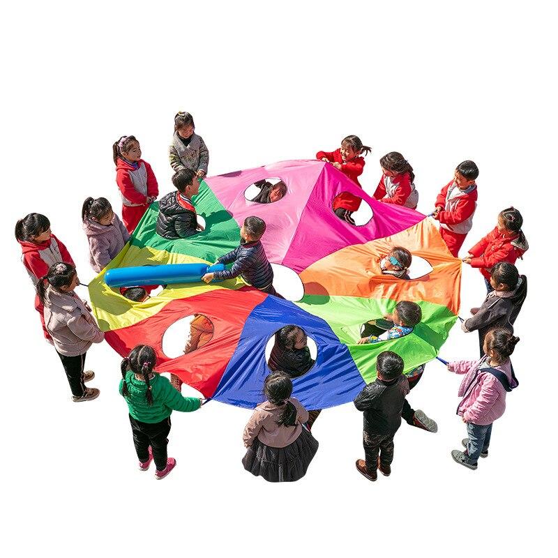 [Divertido] 2M/3M/4M/5M/6M de diámetro juego al aire libre whack-a-mole Arco Iris paraguas paracaídas juguete Jump-Sack Ballute juego mat juguete