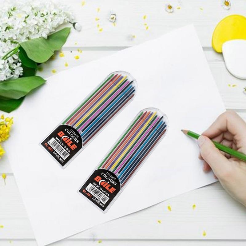 12 unids/caja 2B 2mm de longitud 90mm lápiz mecánico plomo arte boceto dibujo Color plomo escuela Oficina suministros