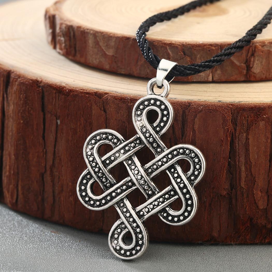 QIAMNI eternidad nudo irlandés infinito amuleto COLLAR COLGANTE Slavic escandinavo vikingo nórdico talismán hombres accesorios de joyería