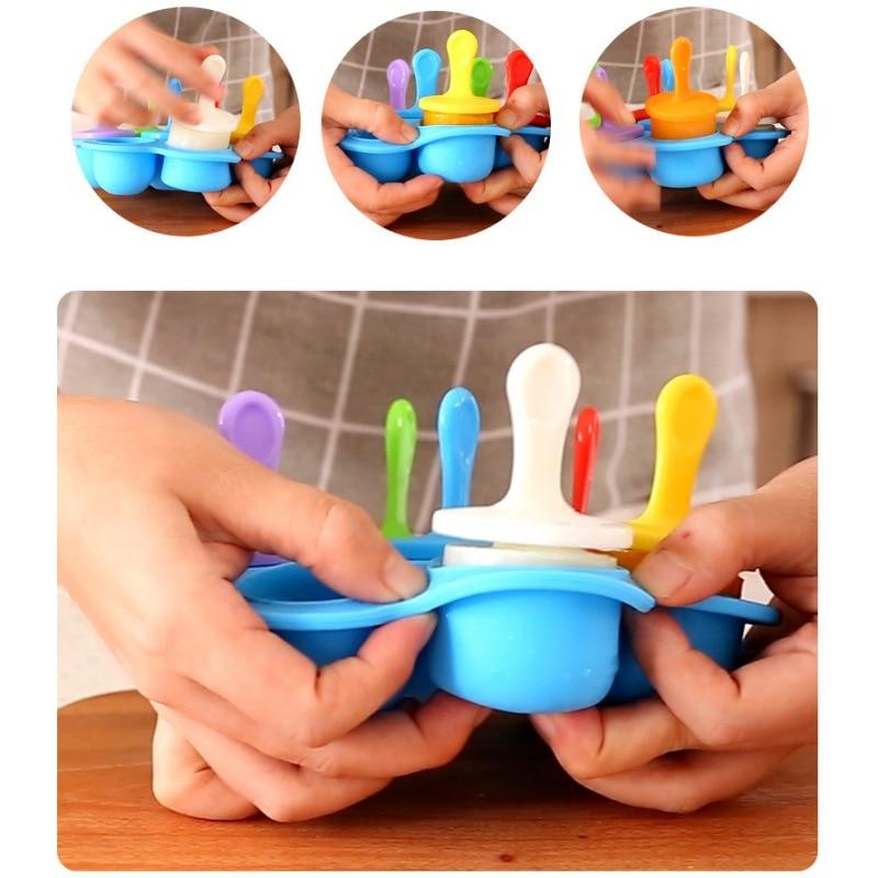 7 löcher Silikon ice cube tray Baby Lebensmittel Container Eis Popsicle Formen Mit Bunte Sticks DIY Eis Bar Dessert makerA1