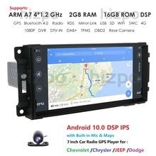 Autoradio Navi Player 1Din Android 10.0   Pour JEEP Wrangler boussole Grand Cherokee Commander Dodge GPS WIFI stéréo multimédia