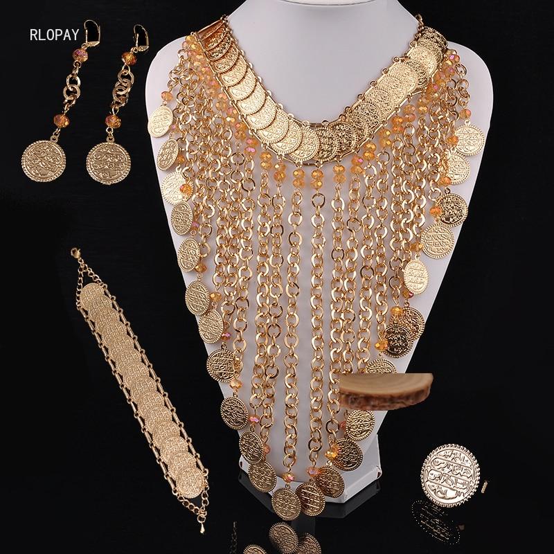 العرقية حلي مجوهرات قلادة مجموعات خرز كريستالي قلادة عملة ذهبية عقد به دلاية كبيرة الحجم الجزائر مجوهرات الزفاف