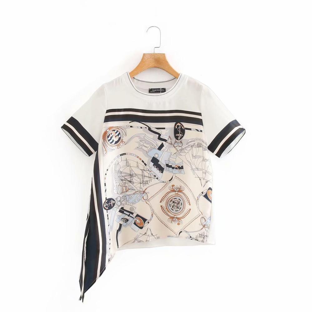 2020 New Women fashion art pattern print casual T-shirts  female o neck short sleeve stripe T shirt chic leisure brand tops T656