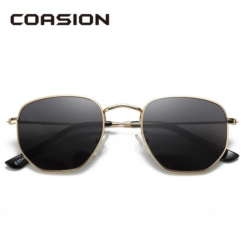 Hexágono COASION Clássico Design Da Marca Óculos Polarizados Homens Shades para Mulheres Retro óculos de Sol Óculos de Armações de Aço Inoxidável CA1279