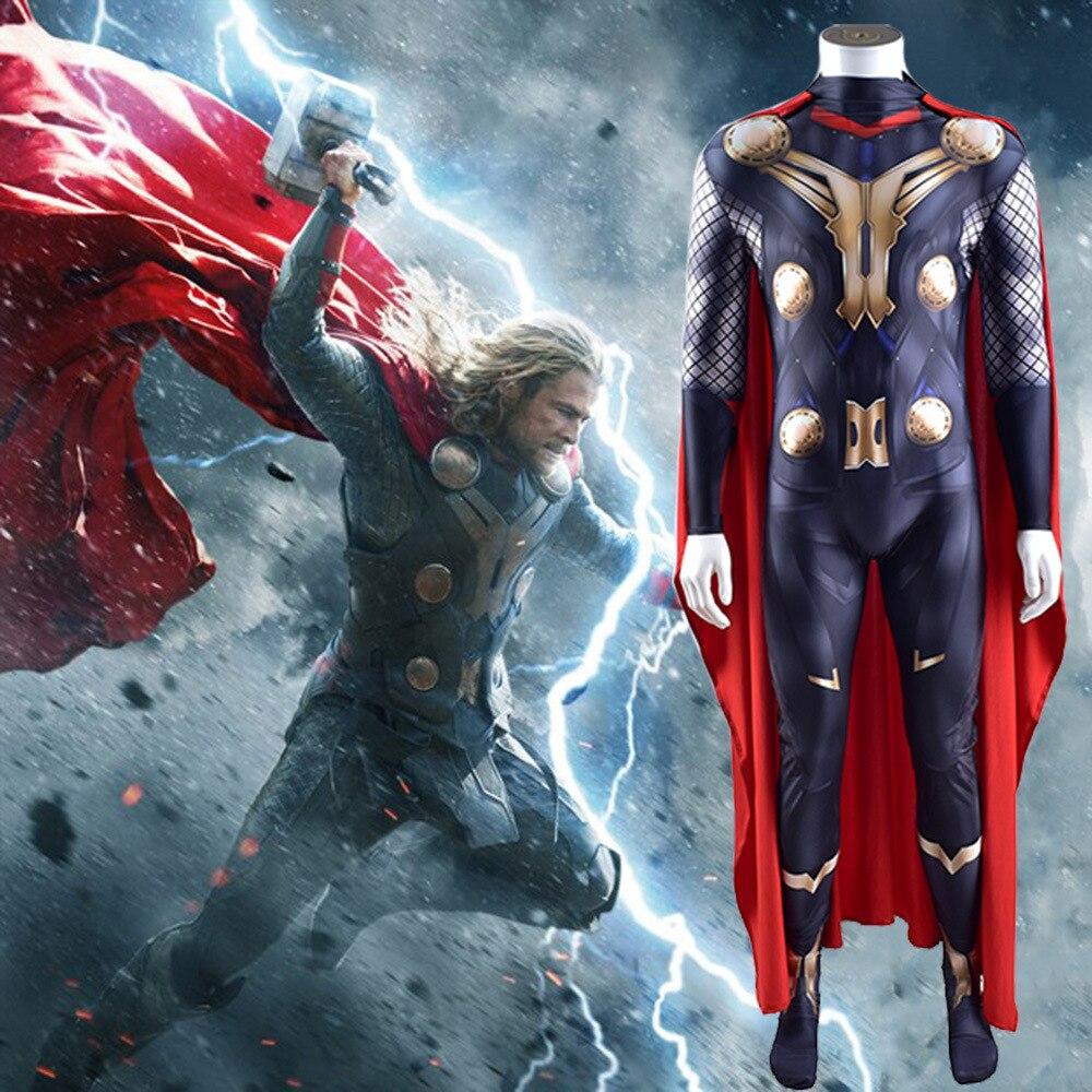 Kids Adult Odin Son Thor Jumpsuit Zeus Superhero Cosplay Costumes Zentai Cloak Suit Halloween Bodysuit недорого
