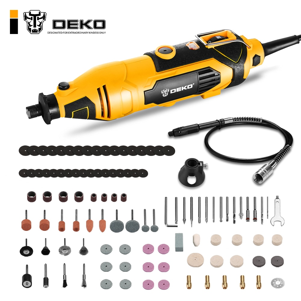 DEKO DKRT02 220V Electric Drill Variable Speed Mini Grinder Rotary Tool Kit Cutting Polishing Drilling with dremel Accessories