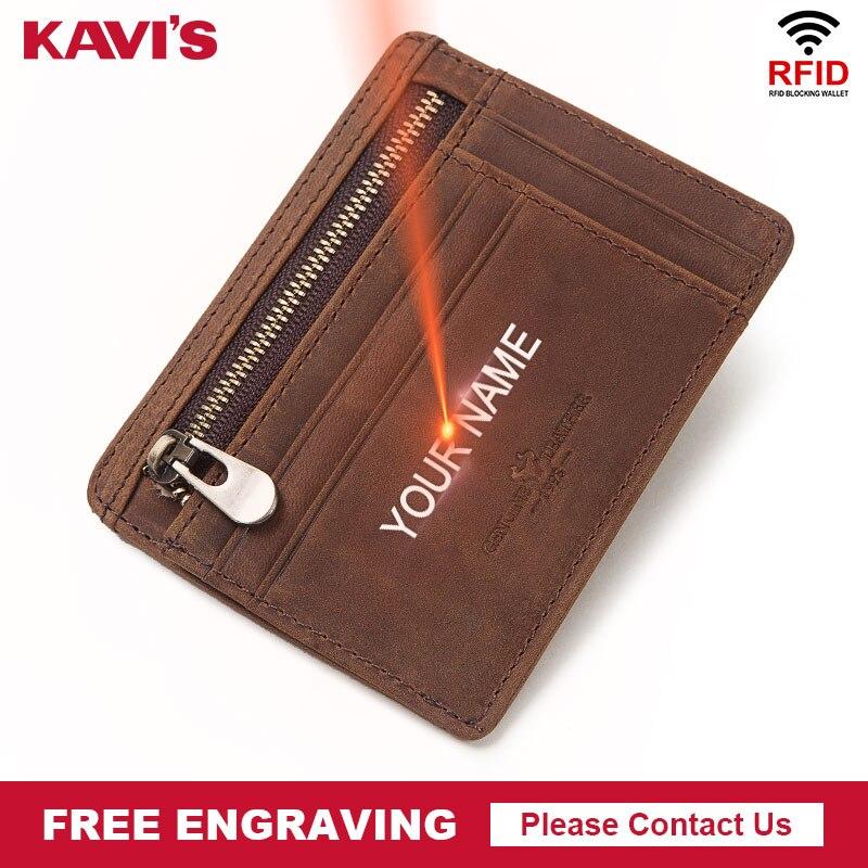 KAVIS Name Freies Gravur Echtem Leder Mini Karte Halter Multifunktionale Männer ID Karte Brieftasche Fall Geldbörse Dünne Diy Geschenk