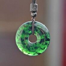 Naturel noir vert Hetian pierre beignet sculpté Jade pendentif collier chinois jadéite bijoux breloque amulette cadeaux pour femmes hommes
