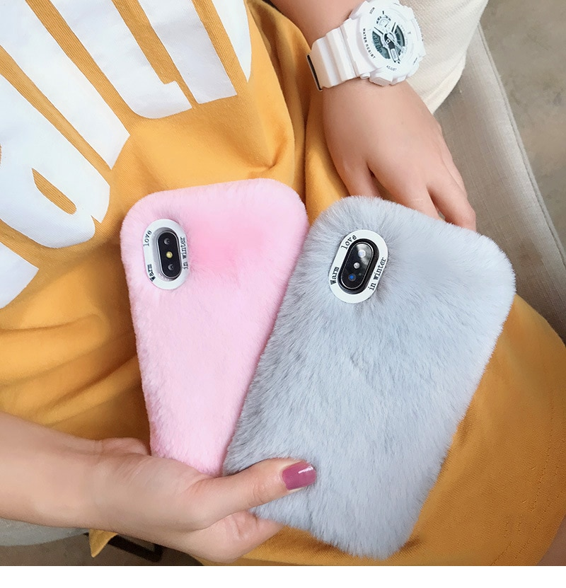Luxo macio peludo pelúcia pele capa do telefone móvel para iphone 11 pro max caso para iphone 6s 7 8 plus x xr xs max inteligente coque