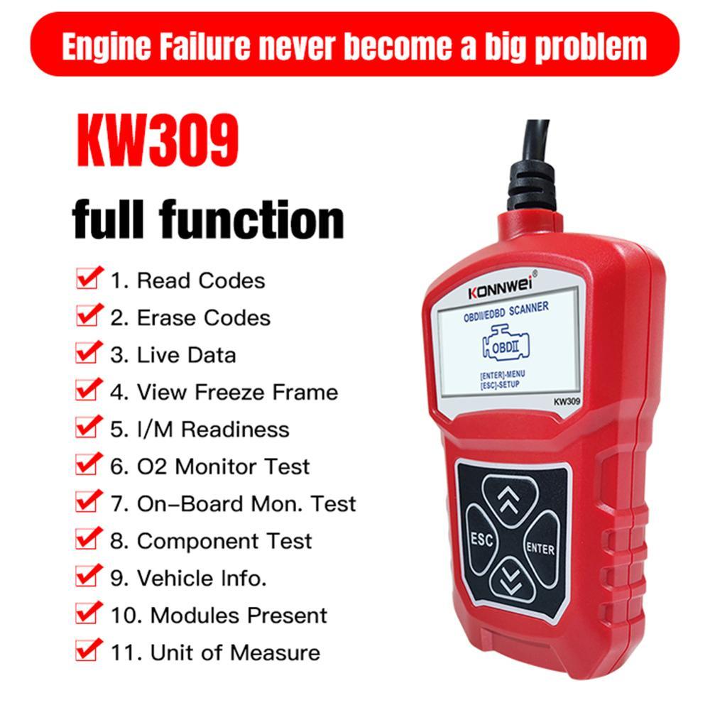 KONNWEI Universal Upgrade KW309 OBDII Auto Car Diagnostic Scanner Tool OBDII/2 Code Reader EOBD Scanning Machine 7 Languages konnwei