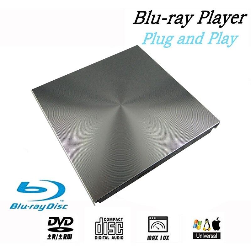 External 3D Blu Ray DVD Drive USB 3.0 DVD / BD-ROM CD / DVD RW Burner Player Writer Reader for Mac OS Windows 7/8.1/10/Linxus,La