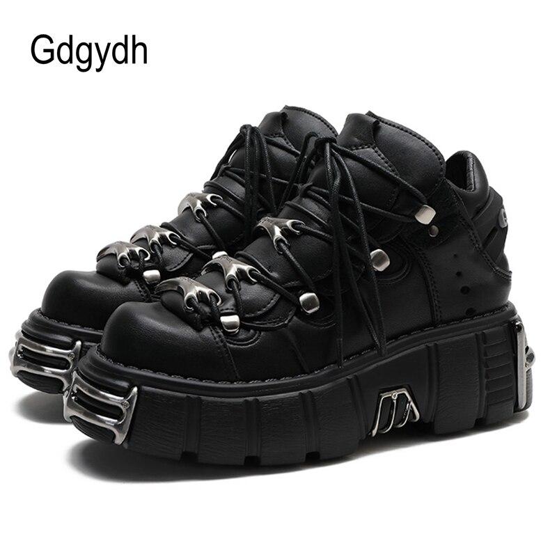 Gdgydh/женские кроссовки на платформе в стиле панк; Модная обувь на платформе со шнуровкой; Женская обувь на толстой подошве; Женская повседнев...