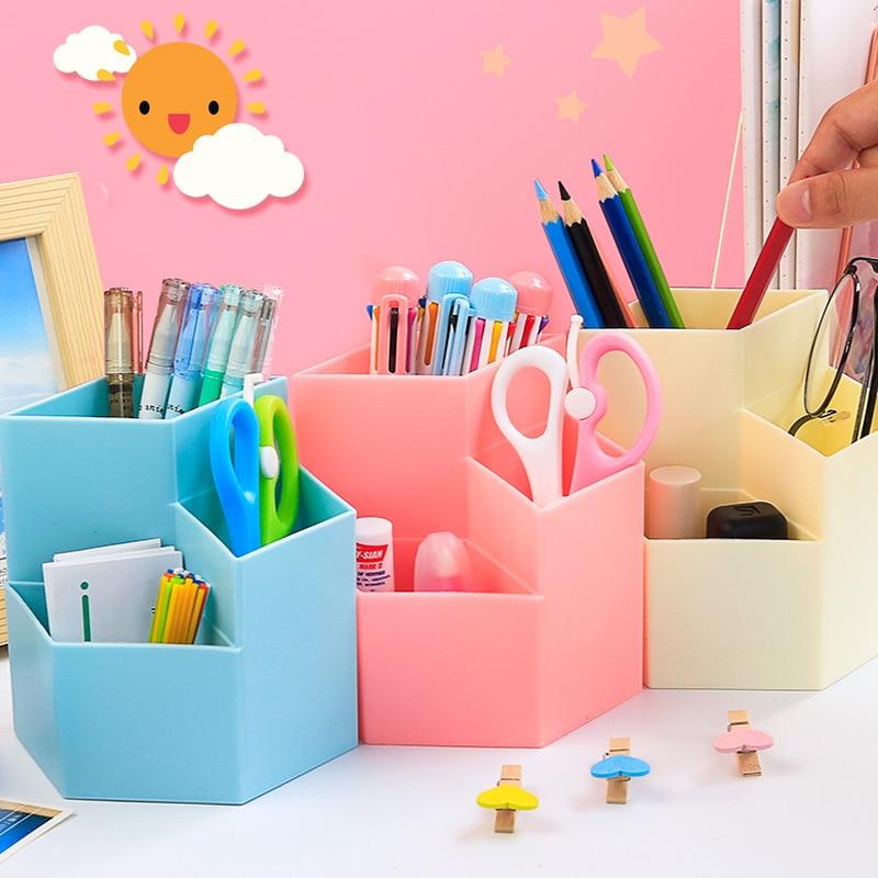 Colored Kawaii Large Capacity Desk Pen Holder Pencil Makeup Storage Box Desktop Organizer Stand Case School Office Stationery недорого