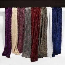 10 pièces/lot hejab écharpe Hijab voile femmes musulman Turban paillettes métallique froissé enveloppement Lurex bandeau islamique musulman foulard