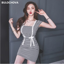 Houndstooth Women Fashion Square Collar Short Sleeve Sexy Pencil Mini Dress 2021 New Summer Ladies P