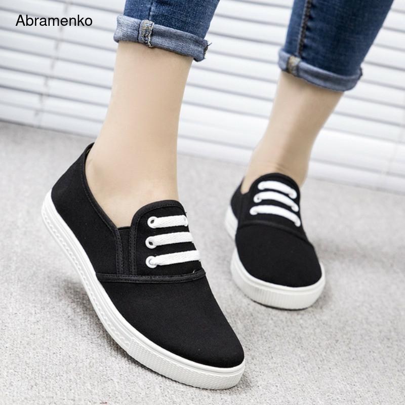 Dedo do pé Plataforma Creepers Sapatos Femininos Lona Casual Brancos Senhoras Rasas Redondo Zapatos Mujer Apartamentos Tamanho Grande 36-40