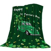 Irish Green Truck Clover Gold Luck Throw Blanket Sofa Bed Throw Blanket Kid Adult Warm Blanket for Beds Coral Fleece Fabric