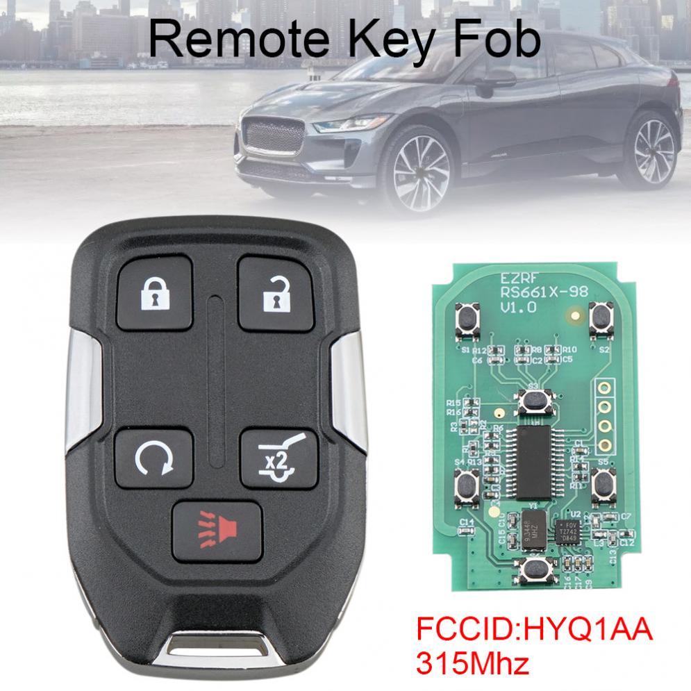 Control remoto de coche inteligente de 5 botones de 315Mhz con Chip ID46 HYQ1AA apto para terreno GMC 2018-2020
