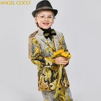 top quality flower boys suits for weddings gentleman kids formal pageant dress children party performance costume teen clothing