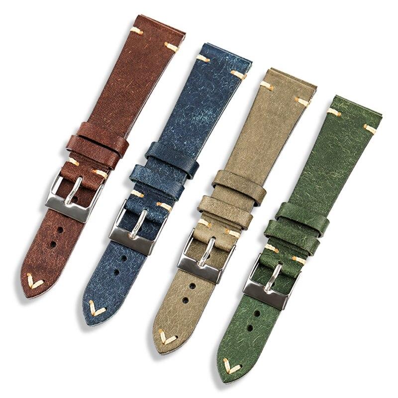 Итальянский кожаный ремешок ручной работы для антикварных часов кожаный ремешок, 20 мм 18 мм Мужской Ретро Браслет