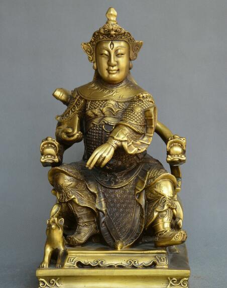 Chino fengshui bronce antiguo Yang Jian Erlang Shen historal asma Dios perro estatua