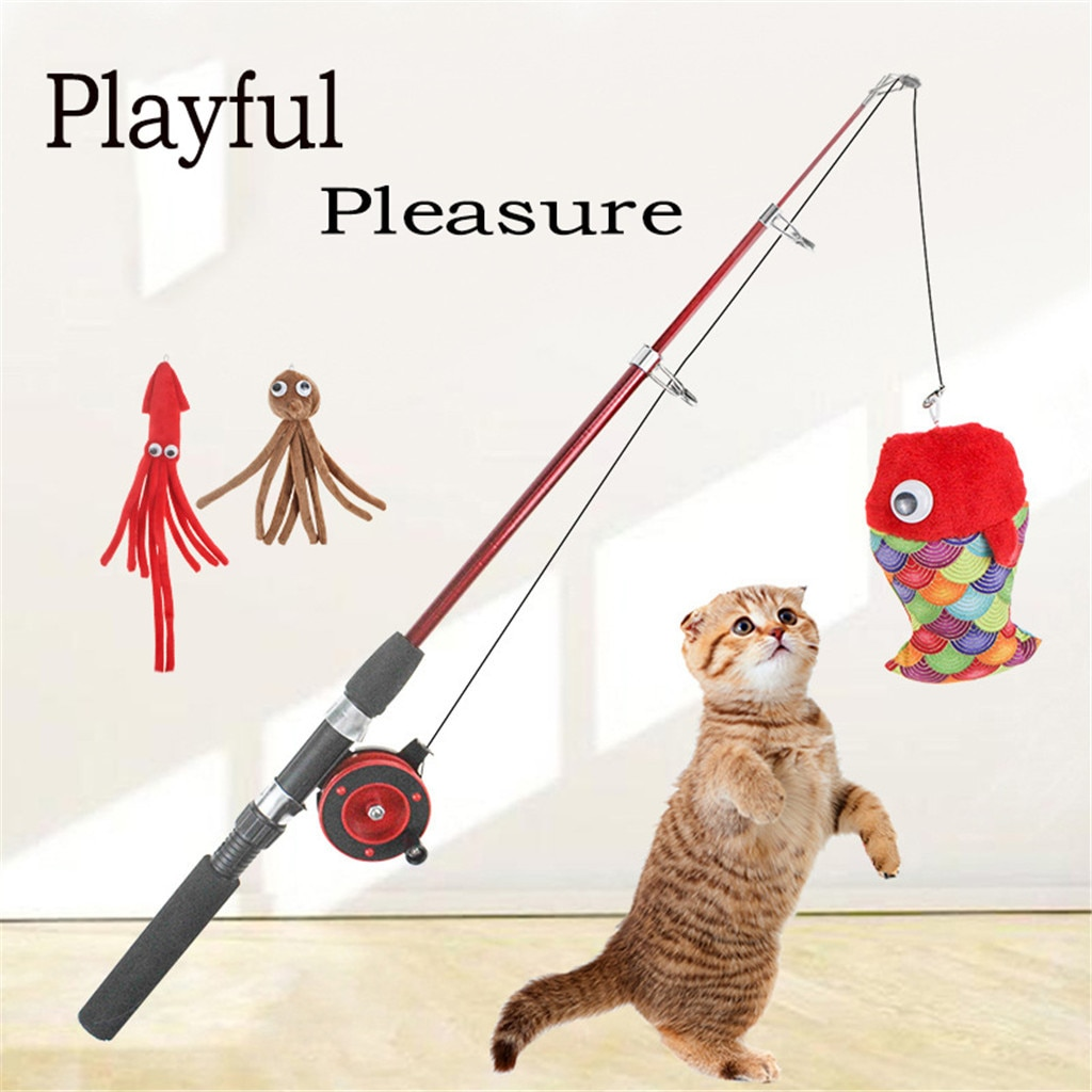 Juguete para gatos, pesca, nuevo divertido palo para gato, juguetes de entrenamiento, Gato de peluche, entrenamiento interactivo, juguetes de broma, artículos para gatos # 0729LJC