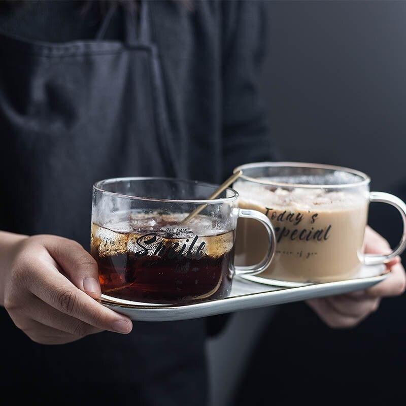 Taza de cristal Chic creativa carta leche jugo taza de agua café cristal transparente tazas recipientes con mango amantes regalos de pareja 500ML