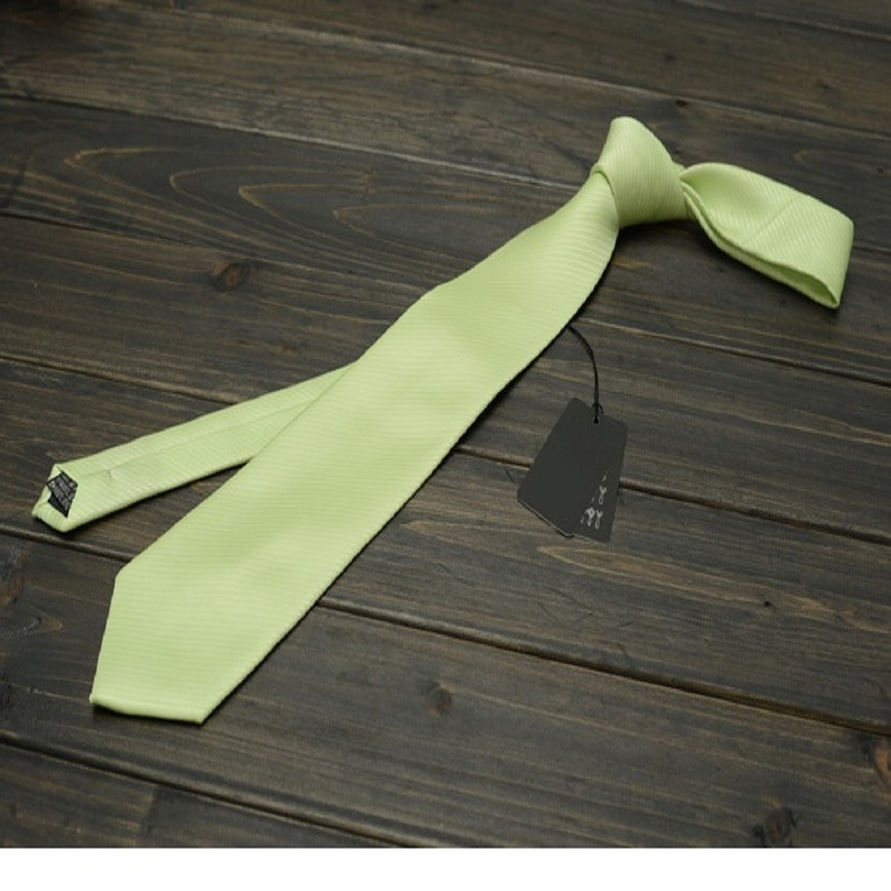 High Quality 2019 New Ties Men Business 8cm Silk Tie Wedding Ties for men Designers Brand with Gift Box Solid Color Light Green