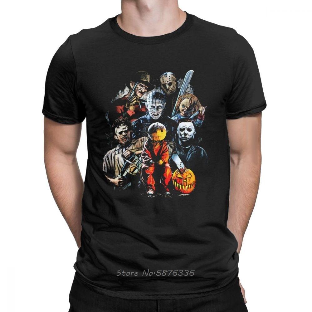Horror Film Charaktere T-Shirt Männer Halloween Scary Freitag Die 13th Jason Voorhees Freddy Männer Baumwolle Tees Kurzarm T-shirt