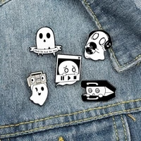 brooches for party gift ghost brooch mini metal badges cute funny lapel pins friends gift badge clothes accessories pin unisex