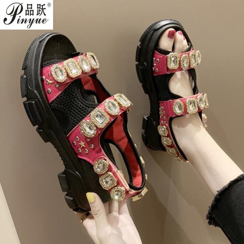 Hollow out open-toed women sandals fashion diamond beads women outdoor wedge shoes Women Waterproof platform Summer shoes