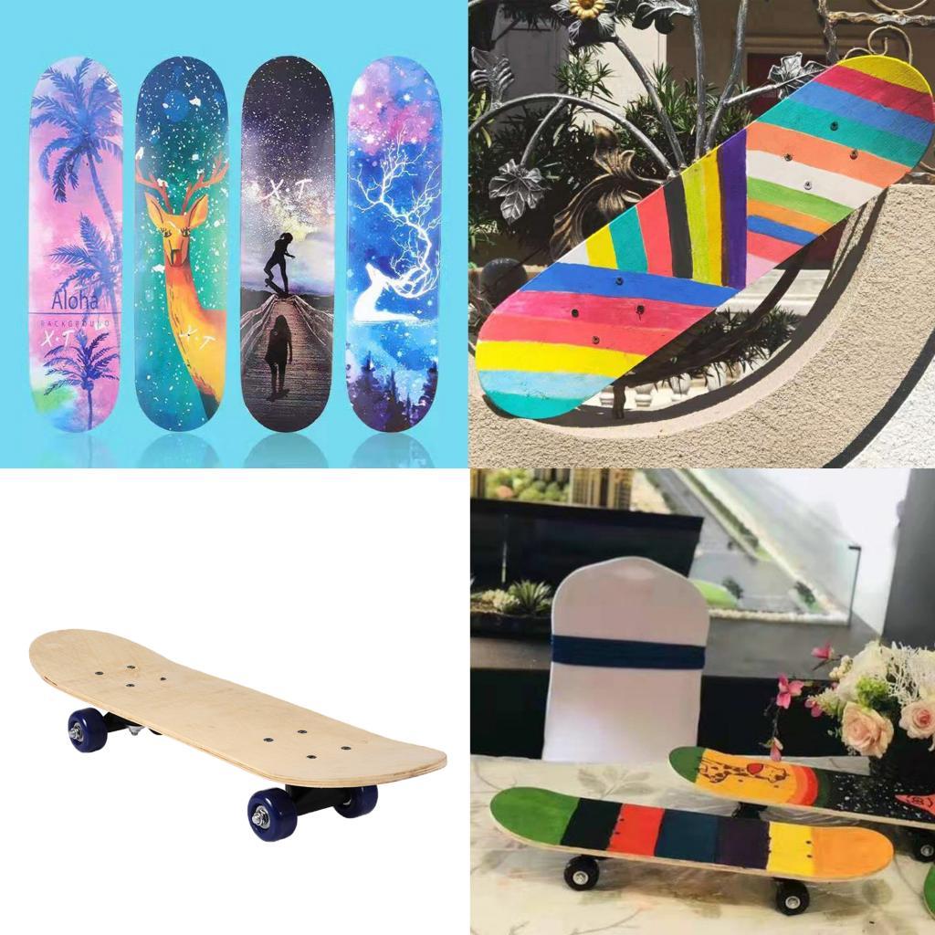 Skate completo em branco duble kick deck côncavo skates longboard diy pintura desenho para colorir em longboard decks