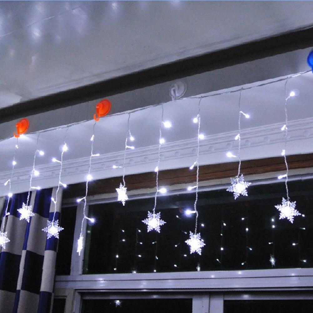 4M 96 luces cortina lámpara LED cadena copo de nieve luz Fairy EU Plug impermeable Navidad casa con 8 modelos Chirstmas Festival cumpleaños