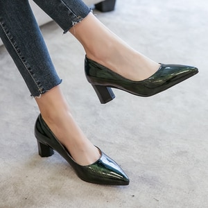 All Melody Women Pump Square Heel PU Patent Leather Pointed Toe Slip-on Spring Autumn Office Career Party Dress Fashion Big Size